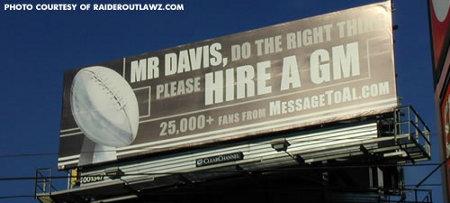Billboard Message to Raiders Owner